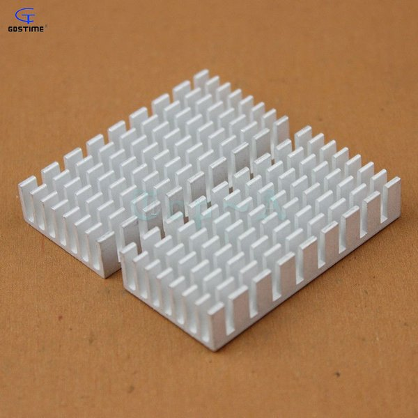 Al por mayor- 2 piezas de aluminio del disipador de calor IC Radiador 50x25x10mm con cinta de 3M para LM2596 LM2577