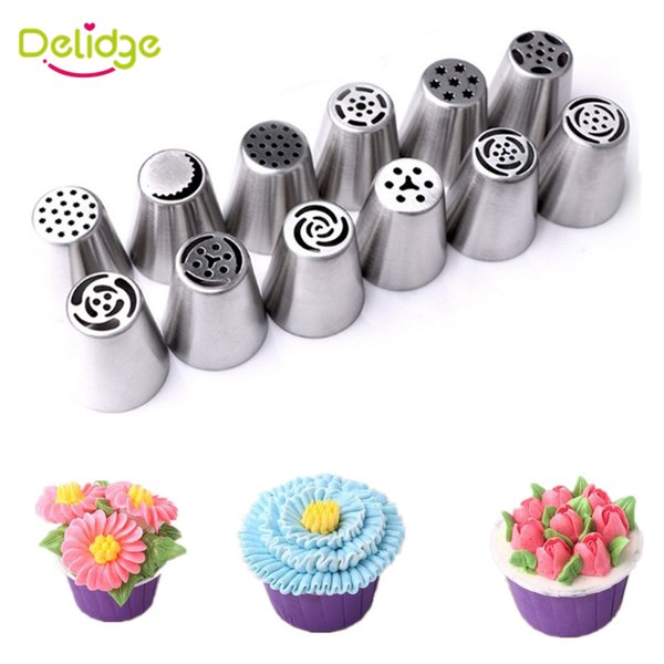 12 pcs/set Cake Russian Nozzle Stainless Steel Cake Decor Tulip Nozzle Cupcake Icing Piping Nozzles Russian Rose Nozzles Tips