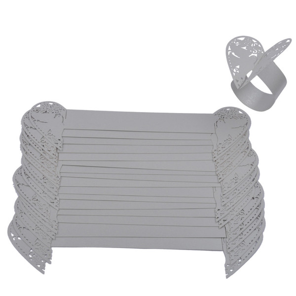 Wholesale- 50pcs/lot Silver Marriage Banquet Napkin Ring Two Dove Heart Design Table Serviette Paper Holder Party Feast Napkin Adornment
