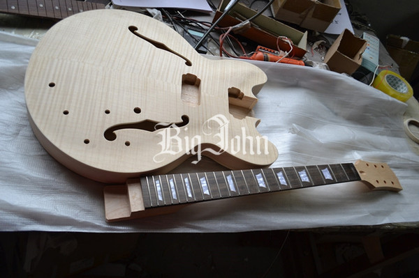 free shipping new Big John unfinished hollow electric guitar including neck and body diy your guitar F-1942