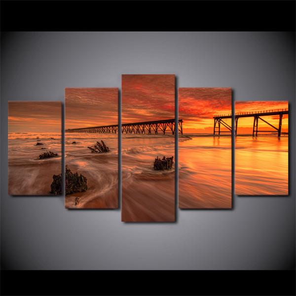 5 Pcs / Ensemble Encadrée HD Imprimé Océan Sunset Toile Art Moderne Imprimer Peinture Affiche Image Pour La Décoration Intérieure Peinture Reproduction