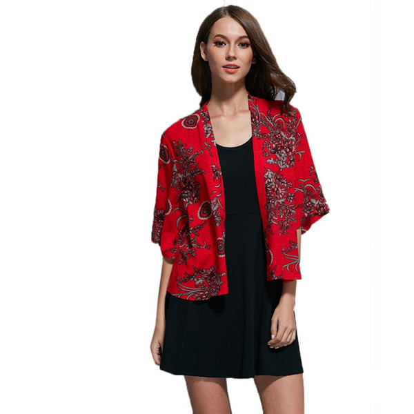 Ladies Autumn Jacket Retro Kimono Design Flowers Shawl Cardigan Coat Jackets For Women