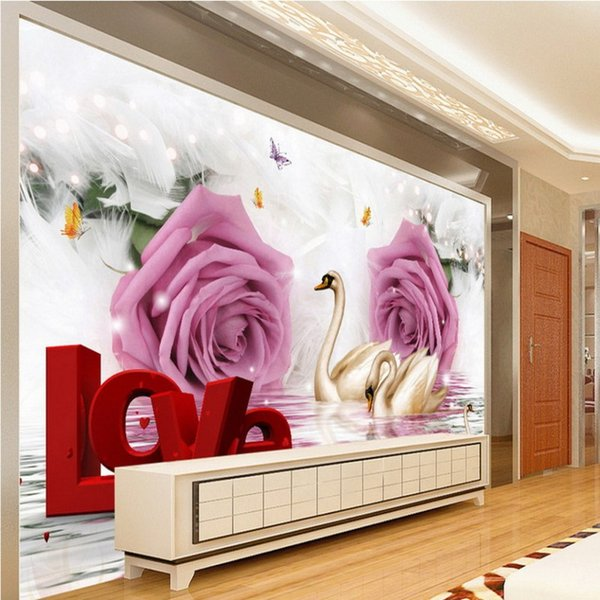 3d Stereo Custom Wall Mural Rose Romantic Swan Tv Backdrop Wallpaper ...