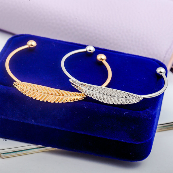 top popular Women Bangles Leaf Alloy Bracelets Gold Silver Color Feather Charm Bangles Adjustable Cuff Bracelets Fashion Jewelry 2021