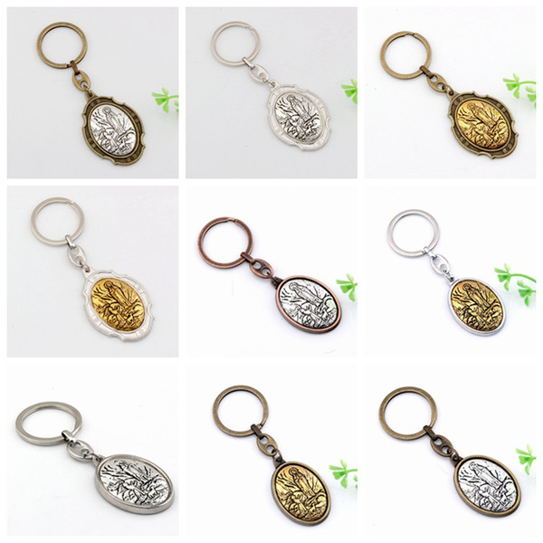 MIC 12pcs Virgin Mary 2 inch Motorcycle Biker or Key Ring Keychain 12 colors
