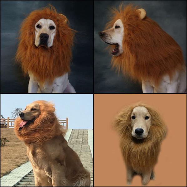 Adornos para el pelo de 3 colores Disfraz de mascota Disfraz de Halloween para gatos Disfraz de Lion Mane Peluca para perros grandes Caliente Nuevo
