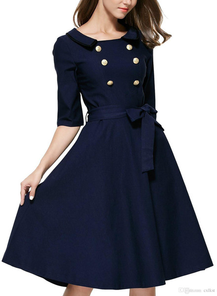 Women's Retro Dress Elegant Vintage 3/4 Sleeve Navy Style Button Bow Belted Special Occasion Party Evening Dress