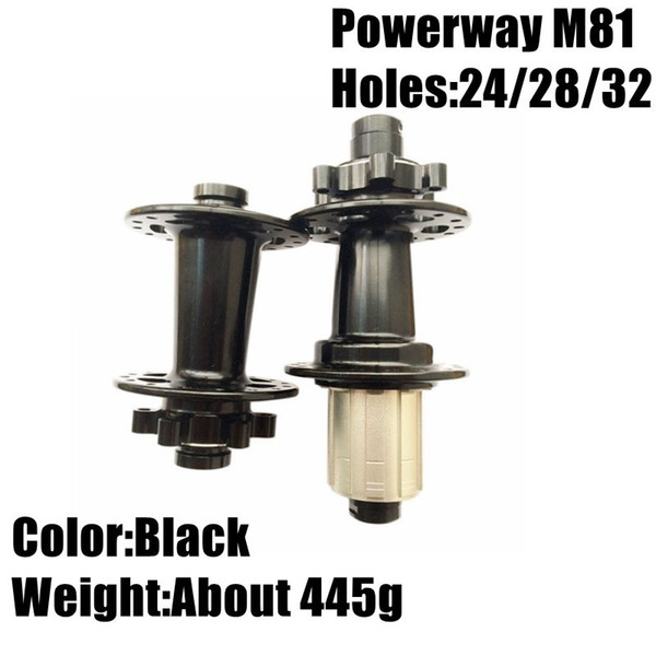 best selling Black Color Powerway M81 Mountain Bicycle Hubs About 445g MTB Bike Hubs Holes With 24 28 32 Cycling Hubs For Sale