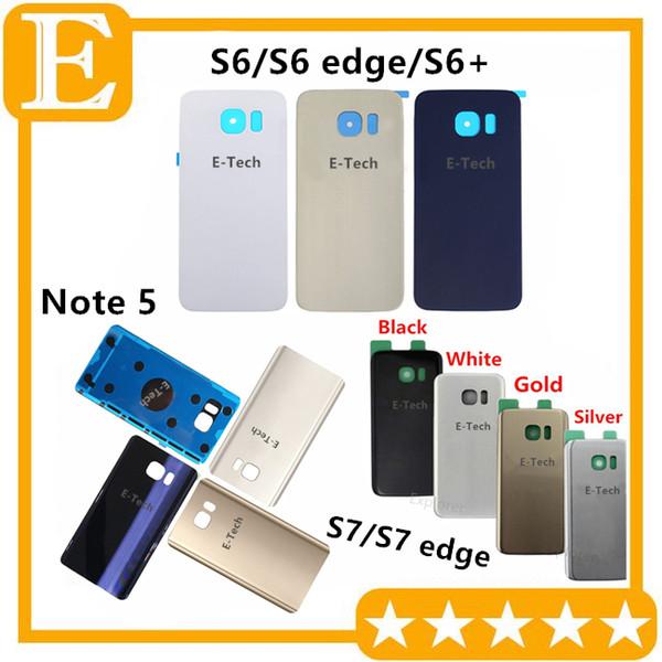 Porta batteria coperchio posteriore Custodia in vetro + adesivo adesivo per Samsung Galaxy S7 S6 bordo Plus G925 G930 G935 Nota 5 N920 20PCS / Lotto