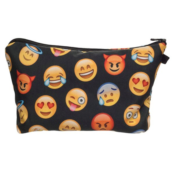 Wholesale- 2016 New Fashion 3D Print Emoji Small Cosmetic Case Women Make Up Bag 100% Polyester Travel Clutch Toiletry Bag 8 Colors Onsale