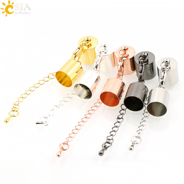 top popular CSJA 10 Sets 5 Colors Jewelry Findings Set for 9mm Cord Bracelets End Cap Connector Bell Lobster Clasp & Extend Tail Chain E168 2021
