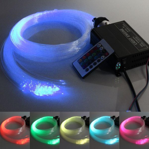 RGB LED colorido plástico fibra óptica estrella techo Kit luz 150pcs 0.75mm 2M + 16W RGB fibra óptica luces Engine + 24key remoto