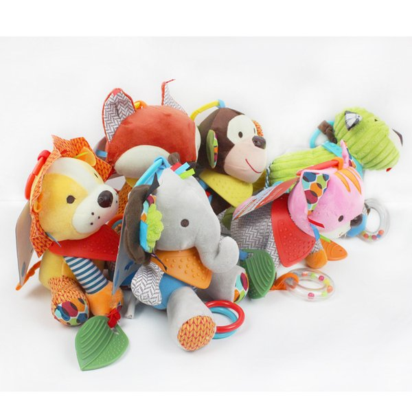 wholesale Baby Gift Infant Toys Cute Elephant lion cat dog bear Mobile Baby Plush Toy Bed Wind Chimes Rattles Bell Toy Stroller for Newborn