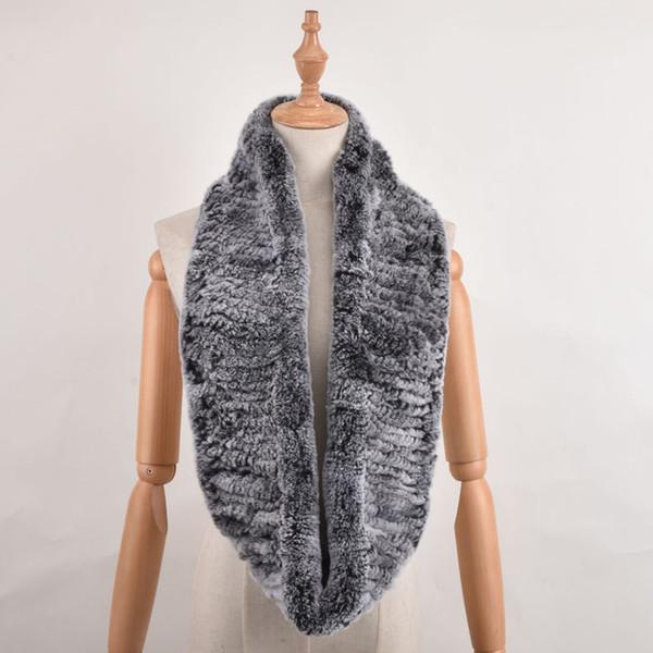 Women Infinity Elastic fur scarf Circle rex rabbit stretch fur scarf Neck Winter Warm Long fur Scarf muffler shawl Neckerchief