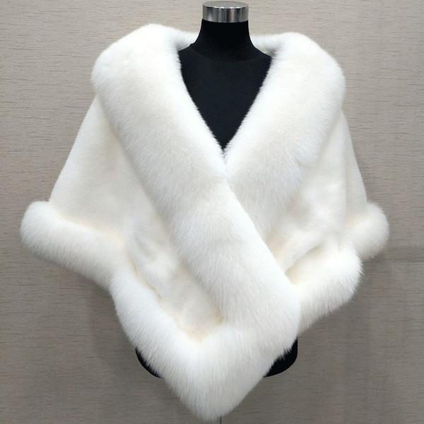 top popular 10 Colors Mixed Orders Autumn winter 2019 newest long fox faux fur bridal Wraps evening dress shawl cloak scarf female Party Cocktail 2021