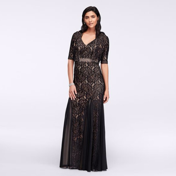 Long Lace Dress with Bolero Jacket Beading Belt 1121734 Sexy Mother of the Bridal Dres Wedding Party Dress Formal Dresses