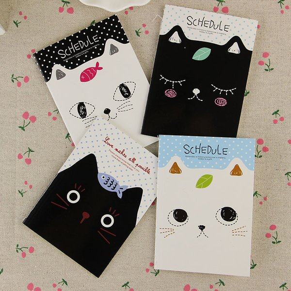 Wholesale- 2PCS Office Stationery Cute Cat Notebook Students Diary Filofax Notepad School Supplies Gift Sent at Random