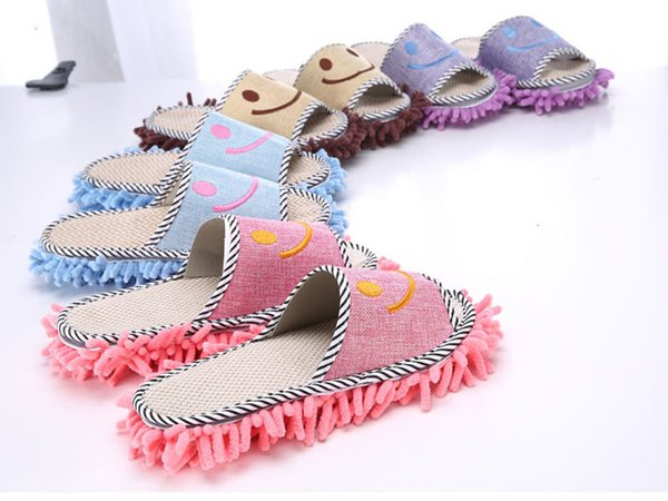 free shipping House Bathroom 11*27 cmMicrofiber Floor Cleaning Mop Dust Cleaner Cute SmileSlippers Detachable Floor Wipe Chenille Lazy Shoes
