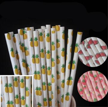 25pcs/lot Fruit pineapple strawberry Paper Straws for birthday wedding decorative party supplies Creative Drinking Straws E267