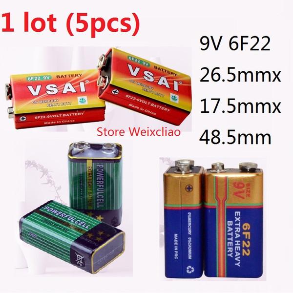 5pcs 1 lot 9V6F22 9V 6F22 Dry Battery 9 Volt Batteries Free Shipping