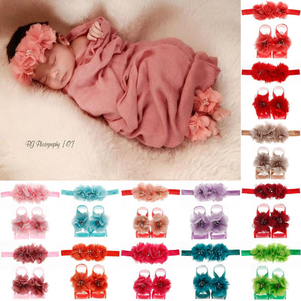 3Pcs/Set Multicolor Fashion Newborn Baby Girls Lace Hair Band + Barefoot Sandals Foot Flower Pearl Headband Over 24colors choose free ship