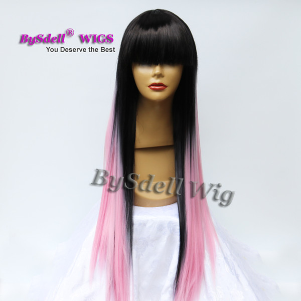 Großhandel Neue Meerjungfrau Rosa Highlight Farbe Perücke Synthetische Schwarz Ombre Rosa Haarfarbe Ordentlich Bang Fringe Stil Anime Cosplay