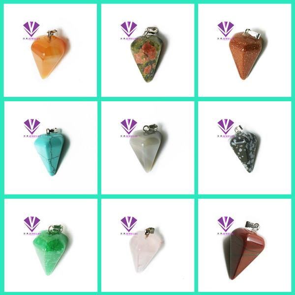 20 Colors Women Natural Gemstone Pendant Necklace Crystal Healing Chakra Reiki Silver Stone Hexagonal Prisme Cone Pendulum Charm Necklaces