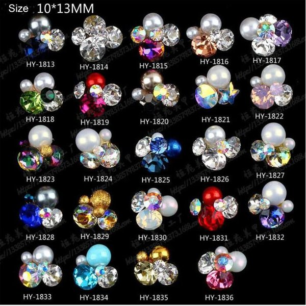 NUEVA 3D Gem Stone Flores encantos del clavo perla de cristal Nail Art Decoraciones Brillo Rhinestones Nails Supply 20 unids / lote
