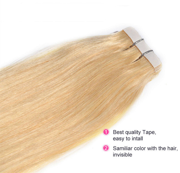"""Grade 8A-- Indian Hair Straight wave 16''--26"""" PU tape in hair Extensions Skin weft hair 100g pack 40pcs 2.5g per piece"""