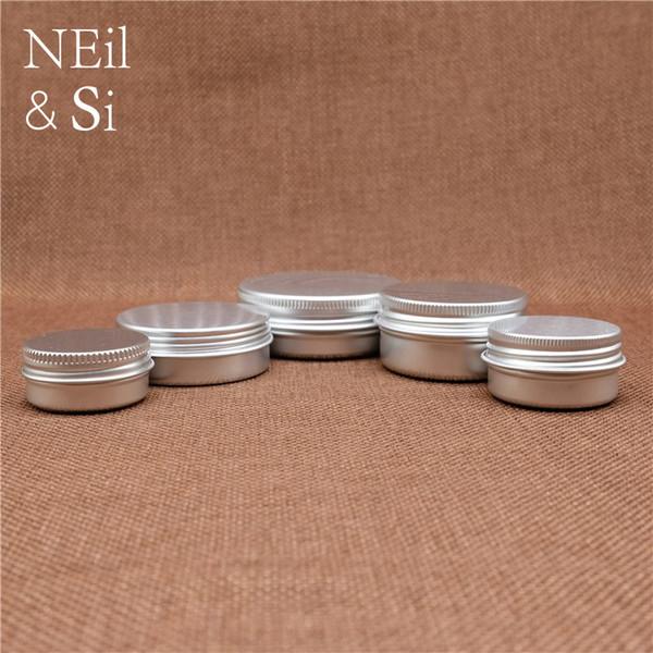 Recipiente De Alumínio Vazio Loção Cosmética Creme Recipiente De Prata Recarregável Lip Oil Batom Conjunto de Viagem Latas Garrafas 5 ~ 50g
