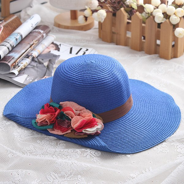 a7c6fe9ed 2019 2017 Fashion Women'S Sun Hat Design Flower Crimping Wide Large Brim  Women Summer Straw Hat Gorro Visors Beach Hats Bone From Wpyechch, $1.91 |  ...