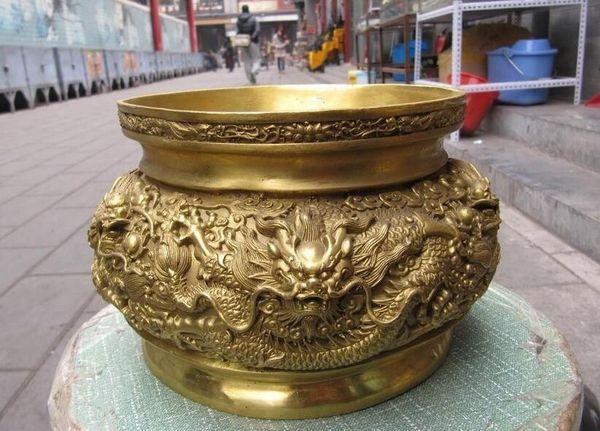 Tibet Brass Nine Dragon Jouer Bead Buddhism Cornucopia brûleur d'encens Encensoir