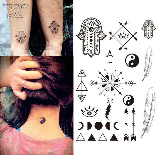 W13 Hamsa Hand Temporary Tattoo With Ying Yang, Moon Phase, Feather ...