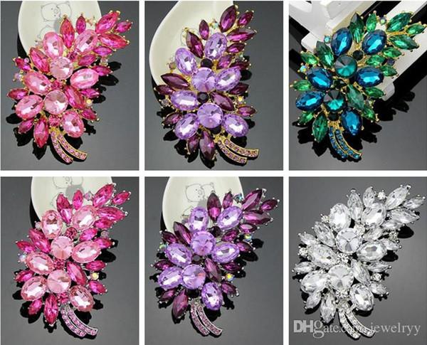 Luxury Crystal Flower Clusters Leaf Brooch Pin Feather Rhinestone Wedding Bridal Pins Brooches Fashion Party Corsage Breastpins Prom gift