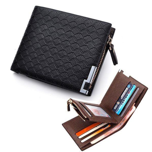 Fashion New Plaid Design Quality PU Leather Men's Wallet Zipper Coin Pocket Card Holder Purse Cross Vertical Slim Money Wallets