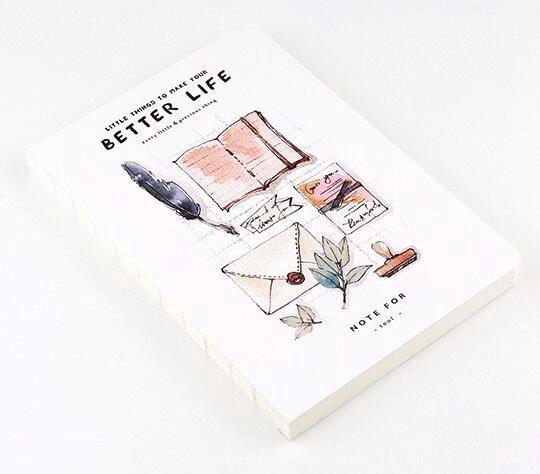 Wholesale- Watercolor design lovely life theme notebook 12.5*18.5cm 80 pages blank sheets office school journal sketchbook gift