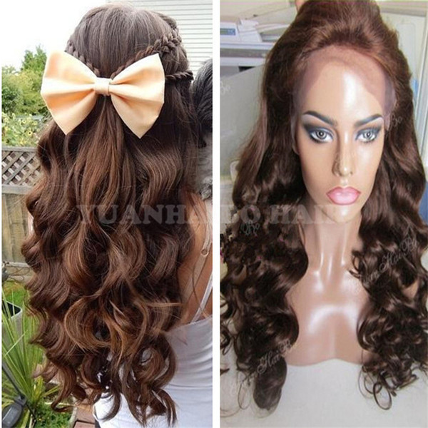 8A High Quality 20inch Loose Wave Medium Brown Indian Virgin Human Hair Full Lace Wig Free Shipping