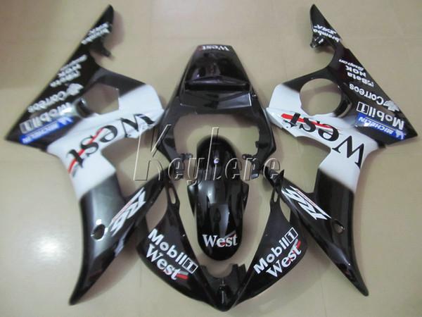 Top selling moto parts fairing kit for YAMAHA R6 2003-2005 white black fairings set YZF R6 03 04 05 IY18