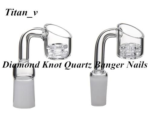 Diamond Knot Quartz Domeless Banger Nail 18/14/10mm Male Female Frosted Joint 21.5mm Bowl Dia 90 Degree Glass Bong Glass Carb