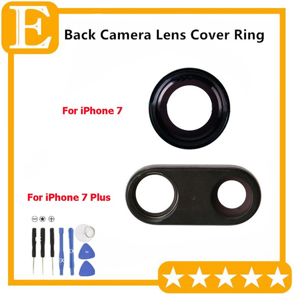 30pcs/Lot Original Camera Lens Glass With Frame for iPhone 7G 4.7'' 7 Plus 5.5'' Back Camera Ring Holder Replacement Parts