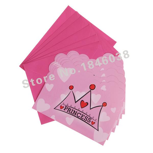 Wholesale-6pcs Umschlagform Crown Princess Theme Party Einladungskarte Baby Geburtstag / Festival Party Karte Dekoration Lieferungen