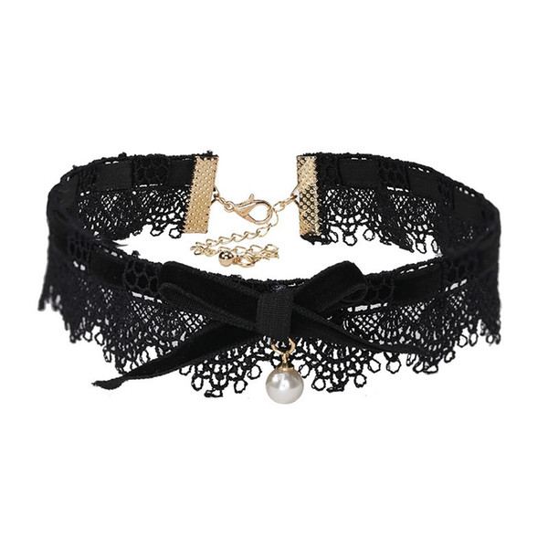 3 Color Chokers Europe and the United States New Fashion Lace Collar Bow Pearl Pendant Necklace