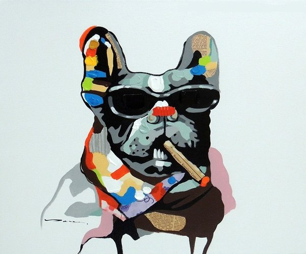 Framed Bulldog Cigar Dark Glasses Abstract Mixed Media Pop Art,Hand-painted Cartoon Animal Art oil painting On Canvas,Multi sizes J034