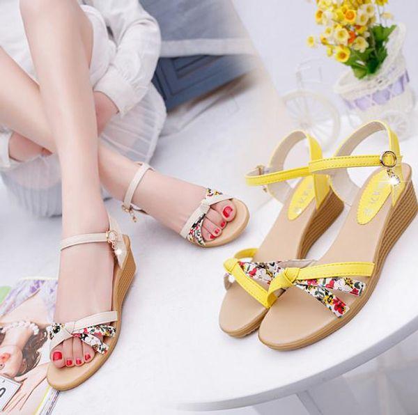 Yaz Lady yeni kalın tabanlar sandalet Şeker renk kadın sandalet