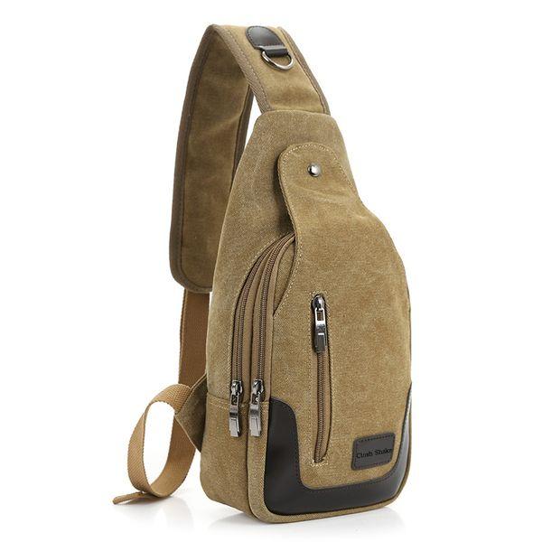 best selling 2017 New Casual Men's Canvas + PU Leather Solid Multi Pockets Messenger Shoulder Back Day pack Sling Chest pack Bag