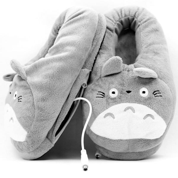 walonshoe / Venta al por mayor Hombres Zapatillas 3D Mi Vecino Totoro Suave Zapato de Felpa Cosplay Calefacción de Dibujos Animados Calentador USB Zapatillas In