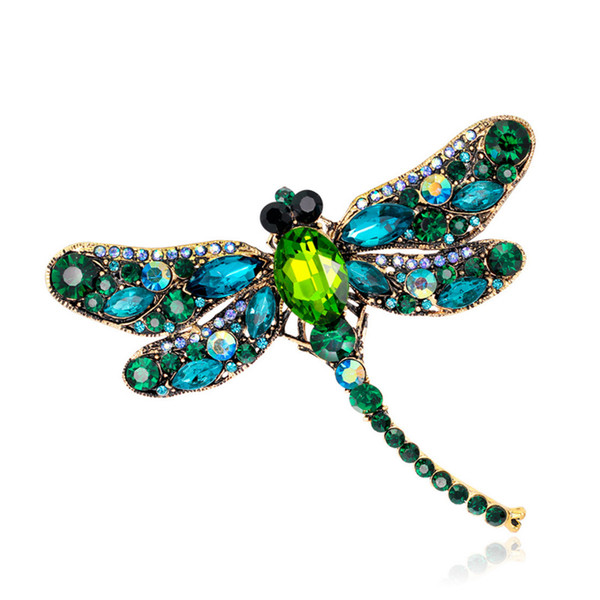Vintage Multicolor Crystal Dragonfly Brooches Antique Gold Alloy Rhinestone Animal Costume Pins Fashion Breastpin Party Jewelry brooch