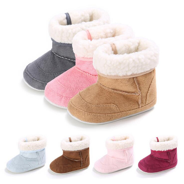 Wholesale- Newborn 7 Colors Baby Girls Kids First Walkers Rubber Soled Outdoor Shoes Infant Toddler Winter Keep Warm Boots 0-1 Year