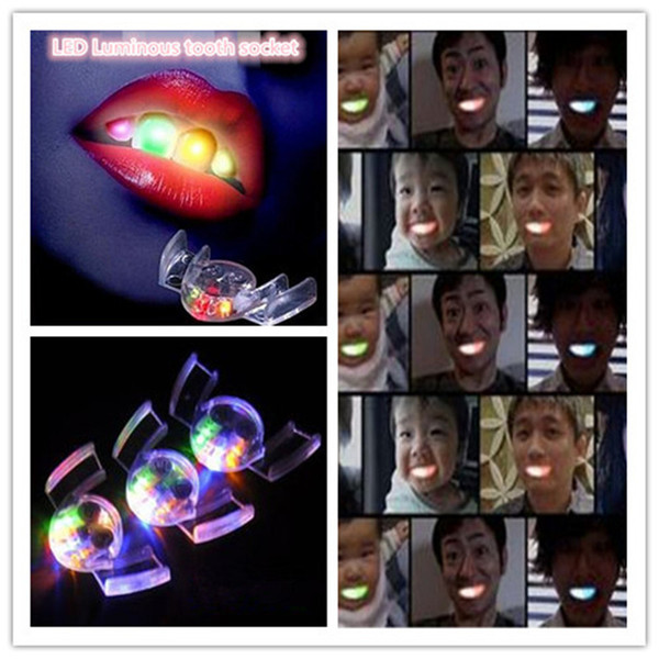 Halloween Tooth LED Flash Teeth Light Mouth Guard toys glow teeth braces Party club Funny Halloween Decorations ouc2010