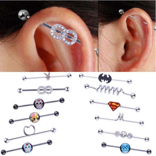 2017 New Stainless Steel Long Industrial Barbell Bar Ear expansions Piercing Earring Stretcher Body Jewelry